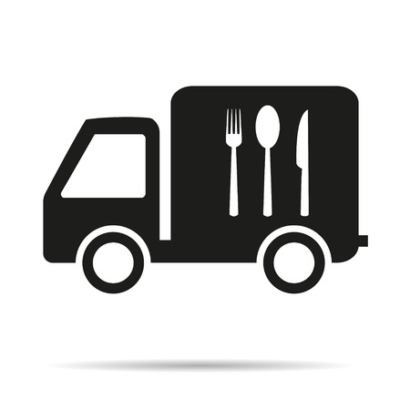 white truck: Food delivery vehicle with the shadow Icon Illustration