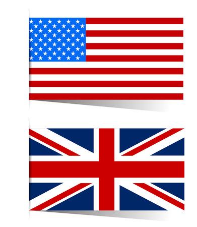 banderas america: Gran bandera de Gran Bretaña y América Vectores