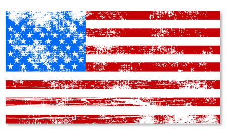en mal estado de la bandera de América retro vendimia Ilustración de vector