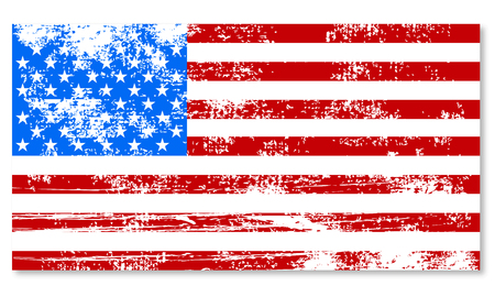 us grunge flag: Retro shabby flag of America vintage