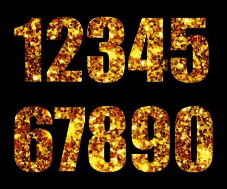 web 2 0: Digits gold on black background