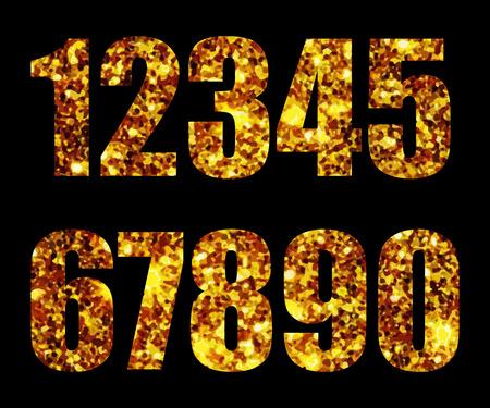 web 2 0: Digits gold on black background