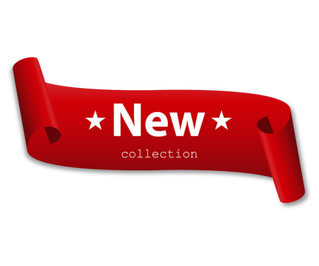 Red ribbon with the words new collection with shadow