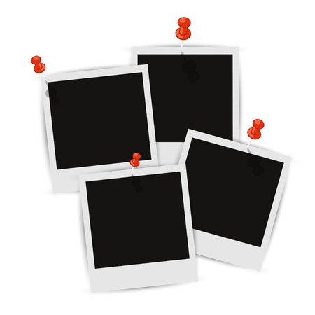 Four photo frames on the wall with shadow attached Illustration
