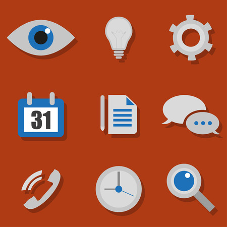 adress book: Technology Icons on an orange background with shadow Illustration