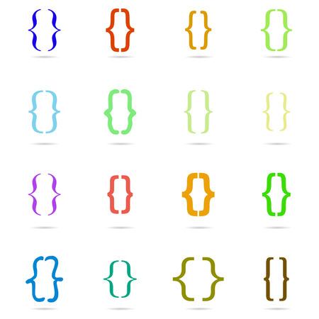 bracket: Set colored curly bracket icon Illustration