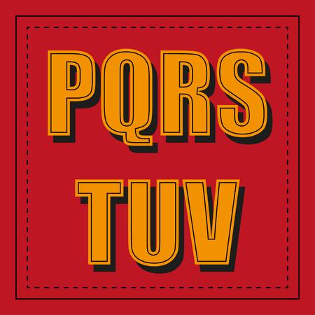Retro alphabet font from p - v