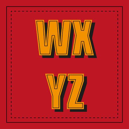 r p m: Retro alphabet font from w - z Illustration