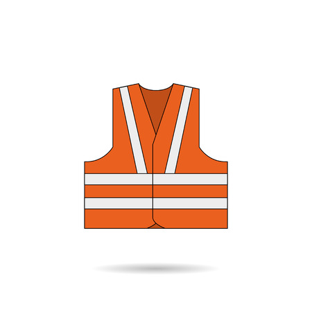 car clothes: Safety vest icon orange illustration with shadow