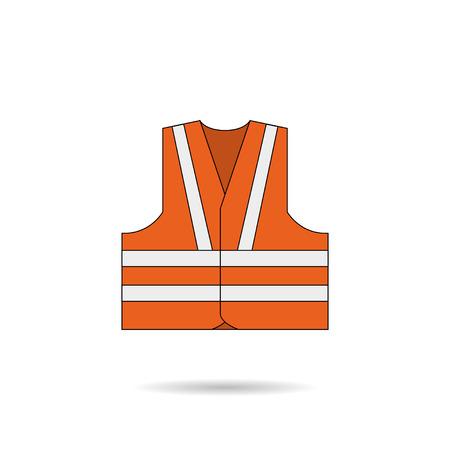 safety vest: Safety vest icon orange illustration with shadow