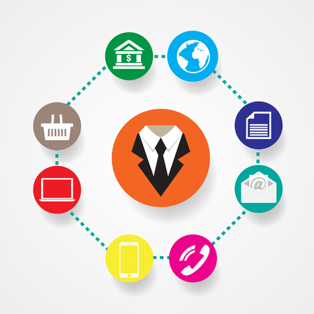 multi media: Business icons flat vector illustration Communication with shadow