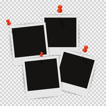 photo paper: Four photo frames on the wall with shadow attached Illustration