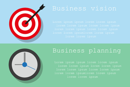 business planning: Business planning and vision on two different color