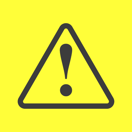 attention sign: Exclamation danger sign on yellow background grey color