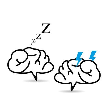 conversaciones: Batalla de los cerebros de un segundo para dormir enojado Vectores