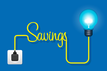 insights: Energy saving light bulb the socket on blue background