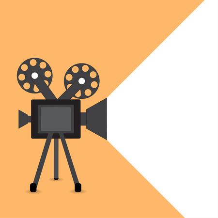 Retro movie projector vector detailed poster shadow