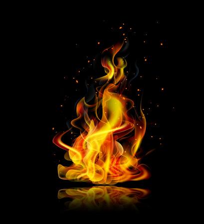 llamas de fuego: Fuego realista con la reflexión sobre un fondo negro Vectores