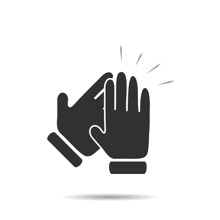 clapping: Hands clapping symbol icon with shadow stylish on a white background