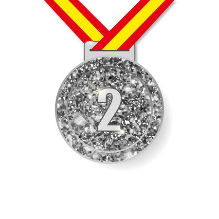 silver medal: Second place silver Medal with shadow vector illustration