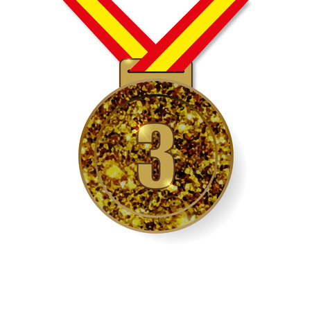 bronze medal: Third Place Bronze Medal with shadow vector illustration