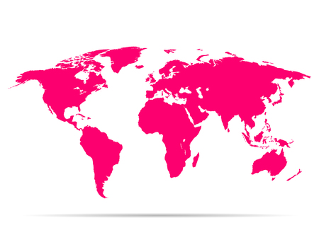 studying computer: map earth with shadow pink colored vector illustration