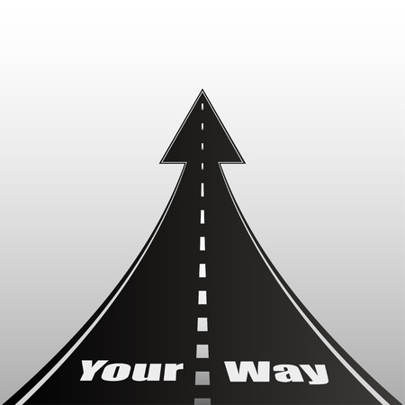 determine: The illustration on a gray background with the text of the road. Your way