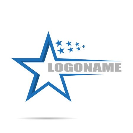 On white background Logo company with stars, flat design Çizim