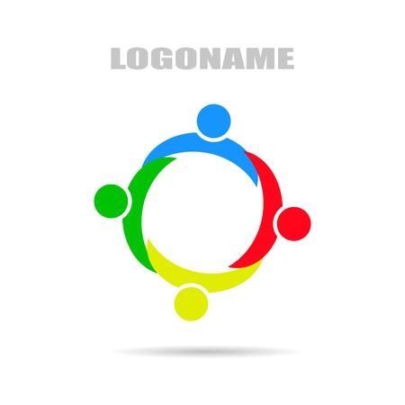 synergie: Logo Unternehmen mit Synergy, flaches Design auf wei�em Hintergrund