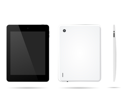 Tablet computer in front, back, side with the shadow realistic style