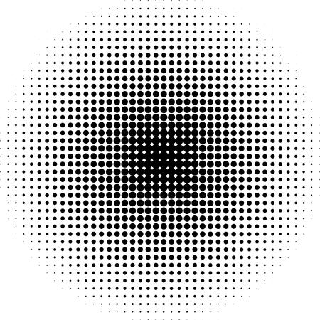 하프 톤 도트 방사형 배경 흑백 일러스트
