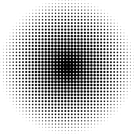 Halftone dots radial background black  and white