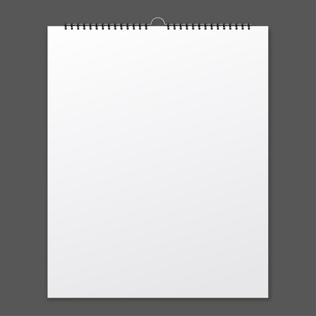 spiral: Blank design calendar on a grey background  with shadow Illustration