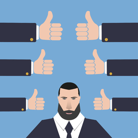 many hands: Businessman with  many hands  thumbs up on a blue background