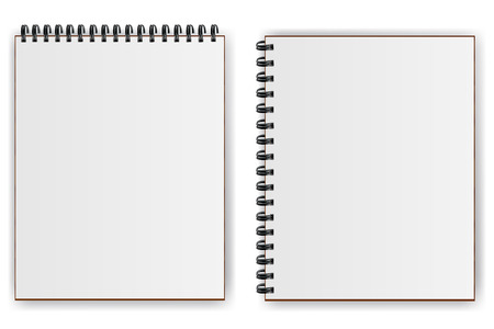 Notebooks with spiral with shadow horizontally  and vertically 일러스트