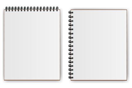 Notebooks met een spiraal met schaduw horizontaal en verticaal Stock Illustratie