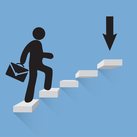 top seven: Businessman climbs the stairs of success  blue background