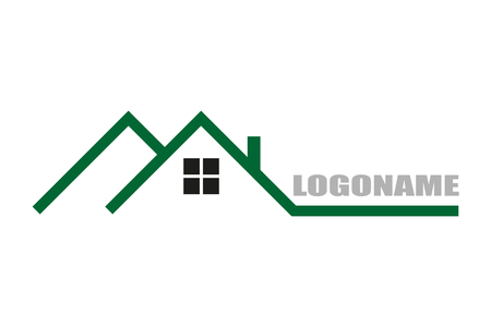 house roof: Real estate logo flat design  stylish illustration