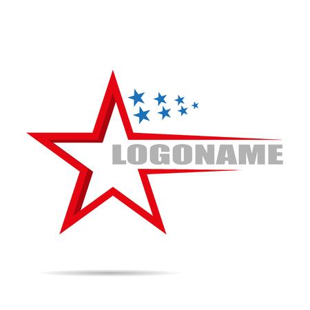 별과 흰색 배경에 로고 회사, 평면 디자인