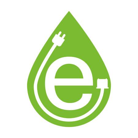 eco logo: E logo eco green color flat style white  background Illustration