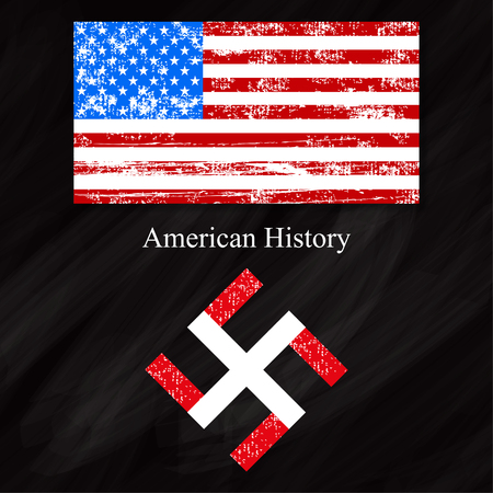 swastika: Black background board american flag  history usa