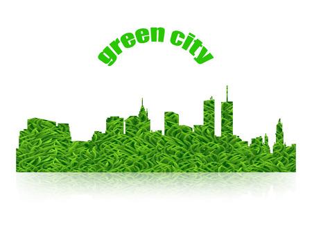 green city: Eco concept green city logo with  shadow