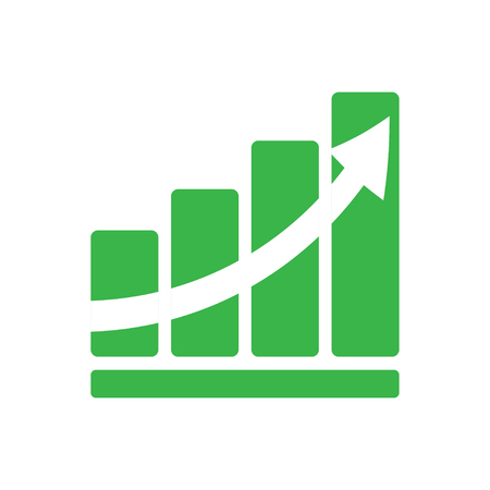 up arrow: Graph green color arrow growth  flat style Illustration
