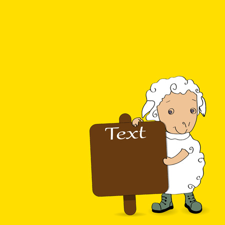 Sheep with Arabic Islamic of text Eid-Ul-Adha on yellow background for Muslim, Festival of Sacrifice celebration