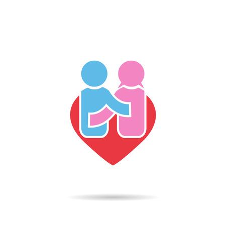 simbolo de la mujer: Gente símbolo de la felicidad en los hombres y las mujeres el amor del corazón de la forma Foto de archivo