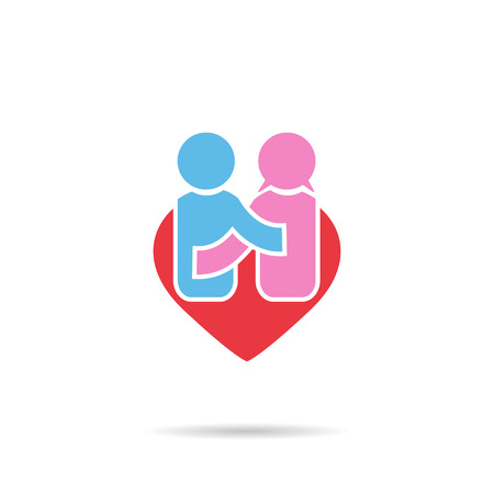 people icon: People happiness symbol in shape heart men and women  love Stock Photo