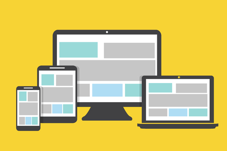 Devices icons flat design on a yellow  background Illustration