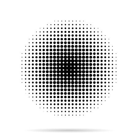 하프 톤 도트 흰색 배경에 그림자와 방사상 일러스트
