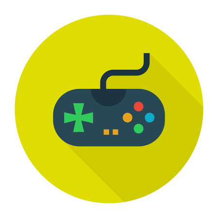 playstation: joystick Icon Flat Design, Long Shadow. Isolated