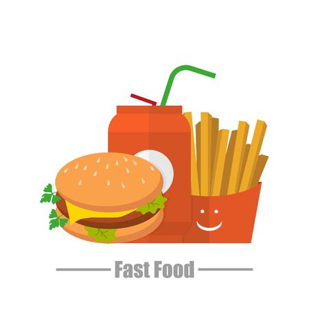 logo de comida: Papas agua hamburguesa insignia de comida r�pida en un fondo blanco
